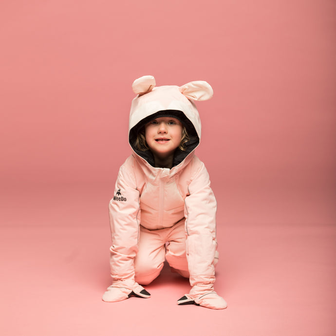 PINK RABBIT SNOWSUIT & GLOVES