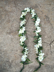 Maile style ti leaf with white orchid wrap