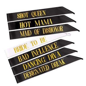 Black Team Bride Tribe Hen Do Sash