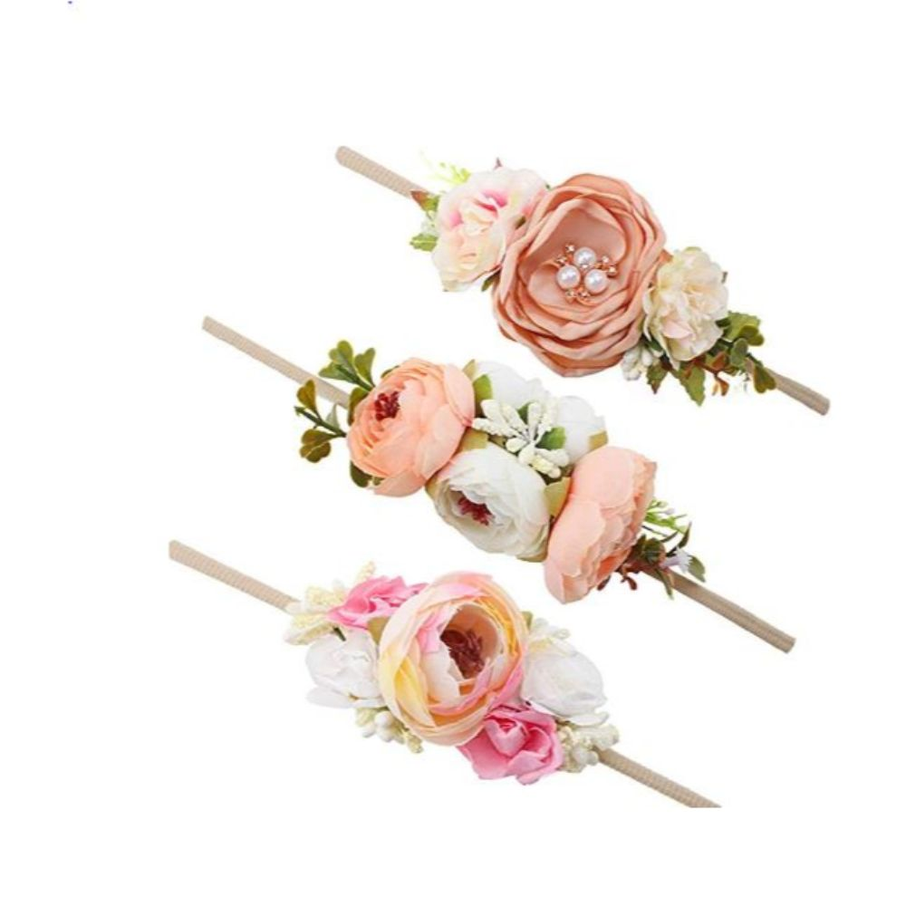 Baby Girl Floral Headbands Set - 3pcs Flower Crown