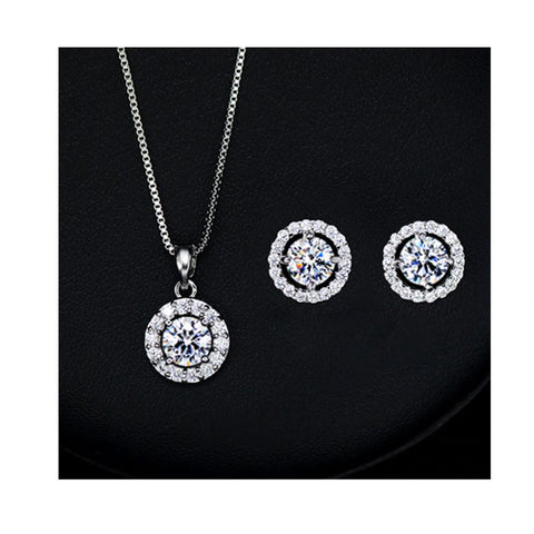 Image of Silver Halo Crystal Jewelry Set