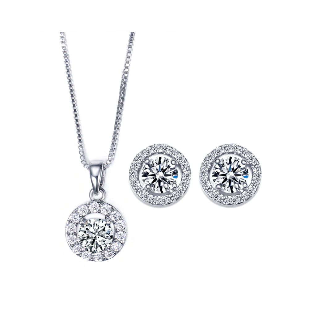 Silver Halo Crystal Jewelry Set