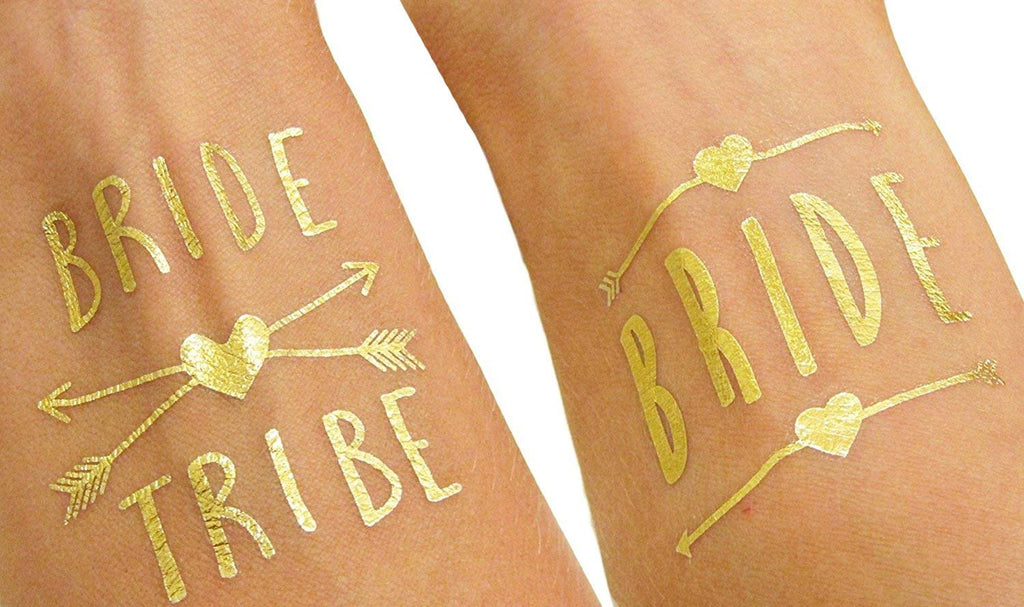 Bride and Bride Tribe Temporary Gold Tattoos