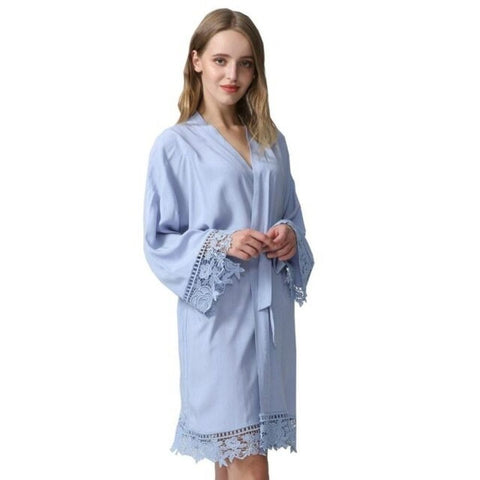 Image of Cotton Lace Trim Bridesmaid Kimono Robe