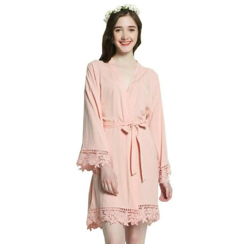 Cotton Lace Trim Bridesmaid Kimono Robe