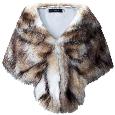 Image of Faux Fur Winter Bridal Shawl Wrap