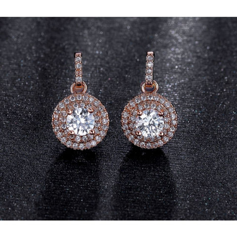 Image of Rose Gold Halo Crystal Jewelry Set