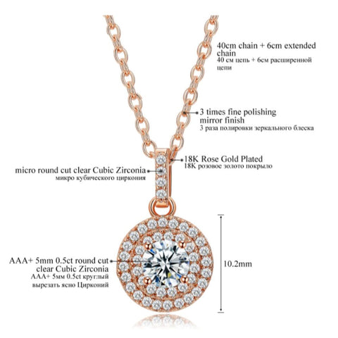 Rose Gold Halo Crystal Jewelry Set