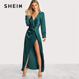 73fe0d9bea SHEIN Green Collared Plunge Neck Twist Satin Dress Deep V Neck Slim Maxi  Dresses Women Autumn Long Sleeve Sheath Party Dress