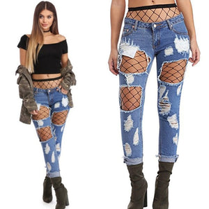 54c0756adf0b 2018 sexy club jeans women ripped with black net skinny high waist sexy  elastic push up distressed jeans women denim pants