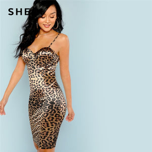 525183573d75 SHEIN Multicolor Sexy Club Leopard Print Bustier Natural Waist Skinny Slip  Cami Dress Autumn Party Women Short Dresses