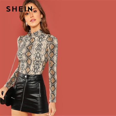 523a463be3 SHEIN Night Out Multicolor Mock Neck Grid Fitted Stand Collar Long Sleeve T-shirt  Autumn