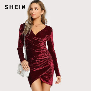 SHEIN Burgundy Party Sexy Solid Ruched Overlap Surplice Crushed Velvet Long  Sleeve Pencil Dress Autumn Club Women Dresses dd3ac8e2b0cc