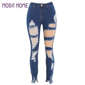 34ae41c508 2018 New Summer Autumn Womens High Waist Ripped Jeans Individuality  Destroyed Frayed Hole Blue Hollow Out Tight Mom Pencil Pants