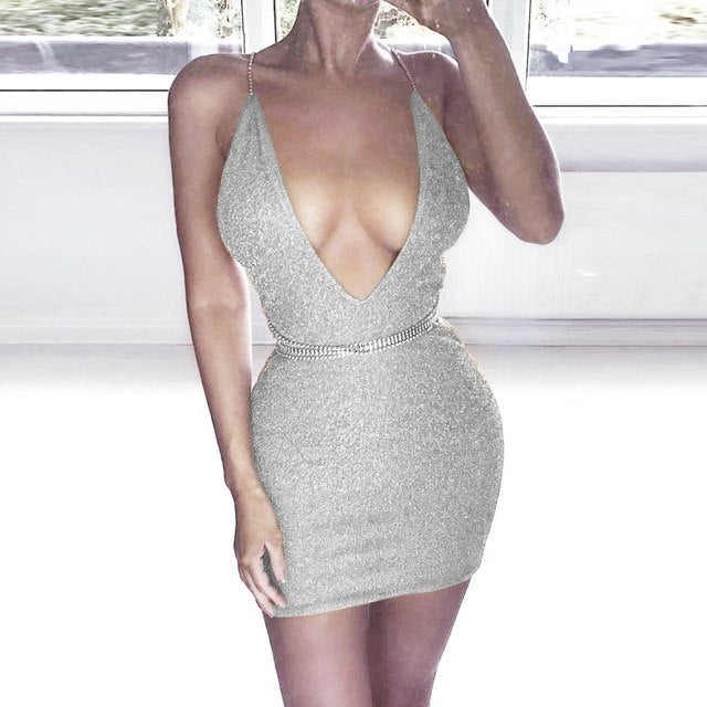 d8953a62be75 ... Load image into Gallery viewer, Summer Deep V Neck Autumn Silver  Sequined Backless Sexy Dress ...