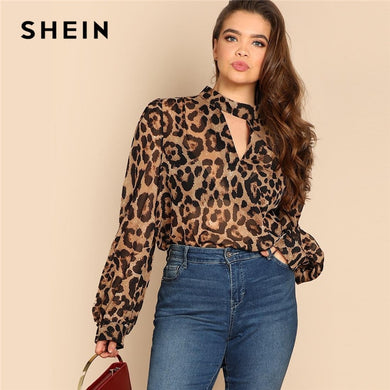 fdc2873e5f1d01 ... Long Lantern Sleeve Thin Top Blouse. SHEIN Plus Size Cut Out V Neck  Sexy Semi Sheer Leopard Print Blouses Women 2019 Spring