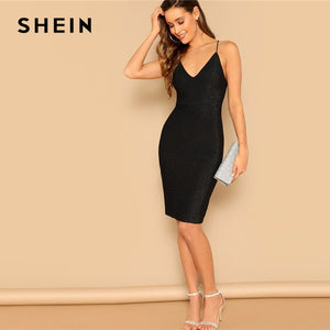 b7c69e01005e SHEIN Going Out Black Lace-Up Detail Open Back Glitter Bodycon Dress  Spaghetti Strap Knee Length Dress Women Sexy Party Dresses