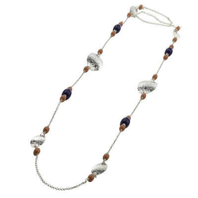 Necklace-Oval Disc Long Crystal Pearl Necklace - Silver