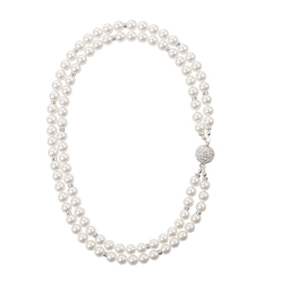 Double strand Pearl and crystal necklace2 in silver with sparkle magnetic clasp