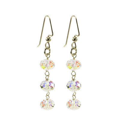 Sterling Silver Triple AB Crystal Dangle Earrings