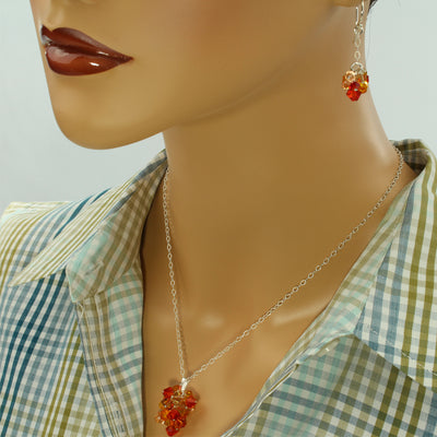 Fire Opal Crystal Necklace - Sterling - Opal Crystal Necklace - Summer Hues