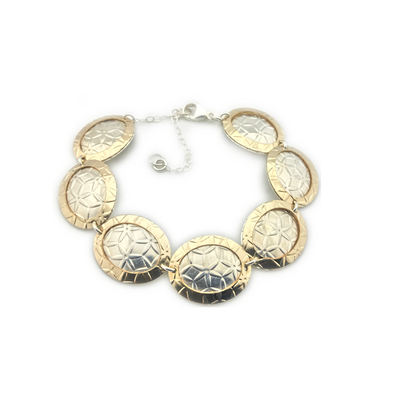 Bracelet-Oval Disc Gold On Silver Bracelet