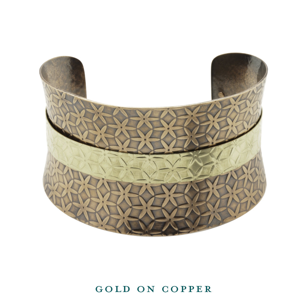 dual tone gold on copper anticlastic cuff front bracelet
