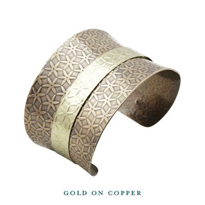dual tone gold on copper anticlastic cuff top bracelet