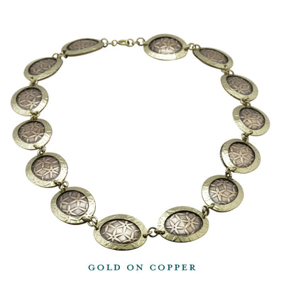 gold on copper oval disc necklace