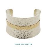 Bracelet-Textured Anticlastic Gold on Silver Cuff Bracelet