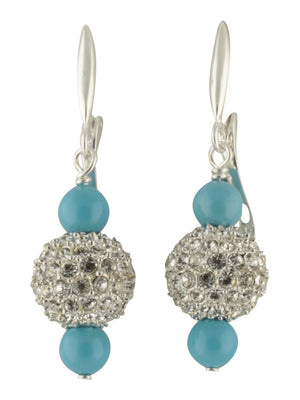 Earring-Pearl and Crystal Sterling Silver Dangles with Sparkle Beads