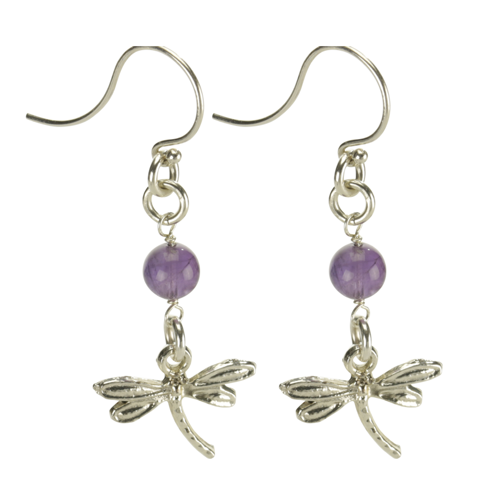 Silver Dragonfly Earrings Handcrafted Jewelry Amethyst Drop Earrings