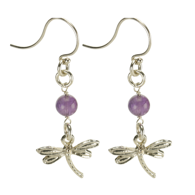 Sterling Silver Dragonfly Earrings Handcrafted Jewelry Amethyst Drop Earrings_2