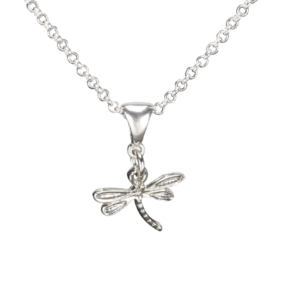 Sterling Silver Dragonfly Necklace Handcrafted Jewelry Cute Pendant Necklace