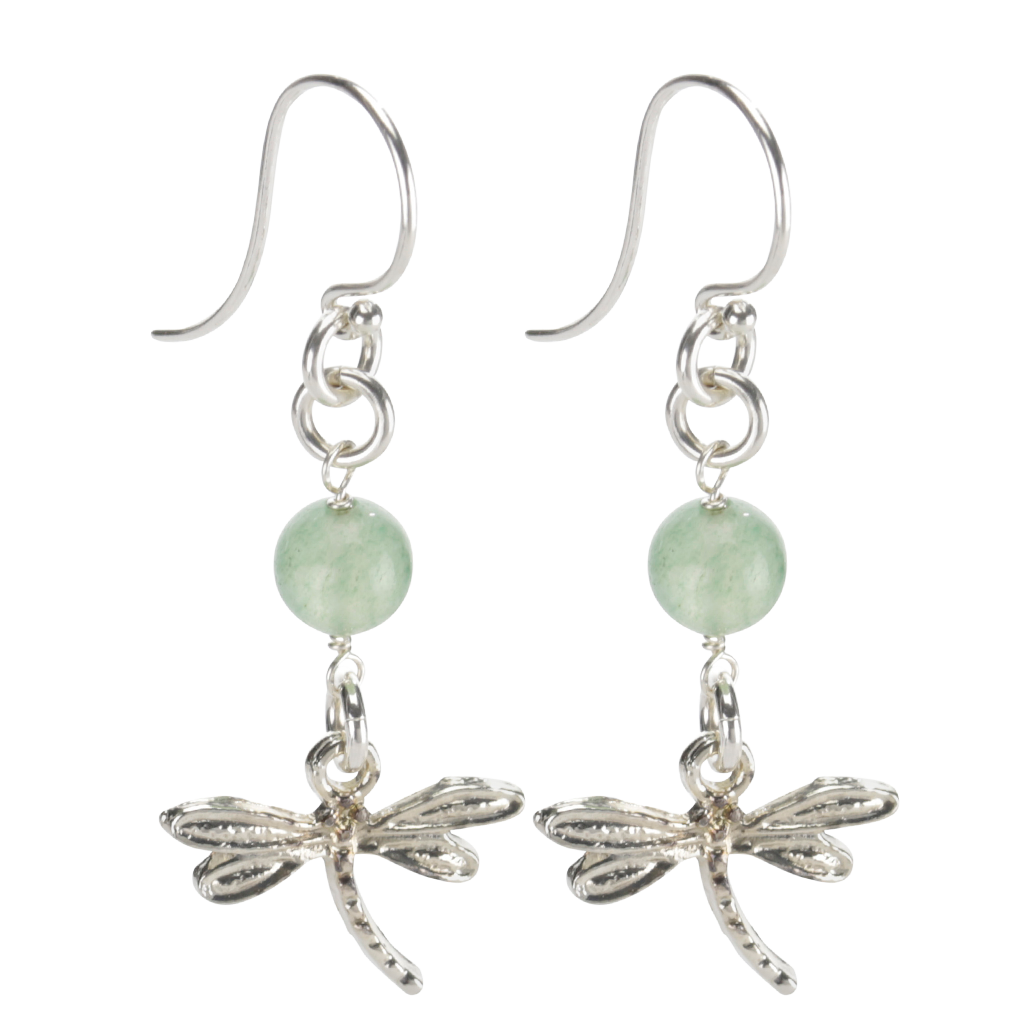 Sterling Silver Dragonfly Earrings Handcrafted Jewelry Green Aventurine Drop Earrings