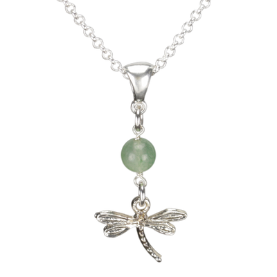 Sterling Silver Dragonfly Necklace Handcrafted Jewelry Green Aventurine Pendant Necklace