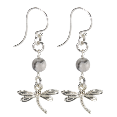 Sterling Silver Dragonfly Earrings Handcrafted Jewelry Howlite Drop Earrings