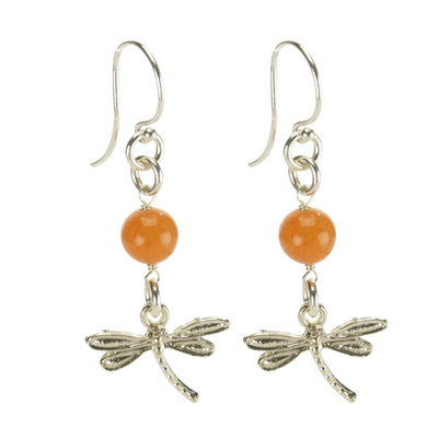 Sterling Silver Dragonfly Earrings Handcrafted Jewelry Red Aventurine Drop Earrings