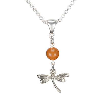 Sterling Silver Dragonfly Necklace Handcrafted Jewelry Red Aventurine Pendant Necklace
