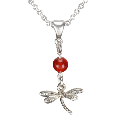 Sterling Silver Dragonfly Necklace Handcrafted Jewelry Red Malay Jade Pendant Necklace