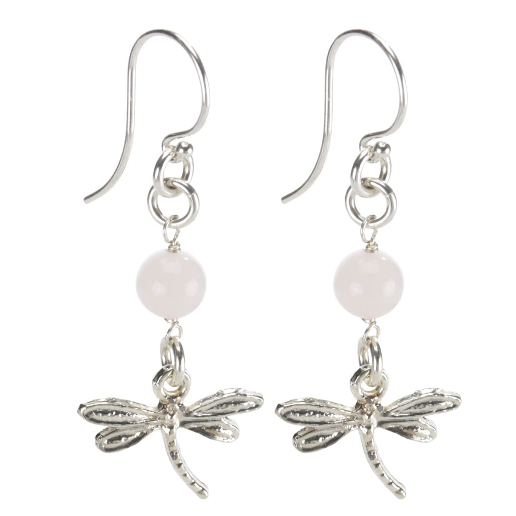 Sterling Silver Dragonfly Earrings Handcrafted Jewelry Rose Quartz Drop Earrings