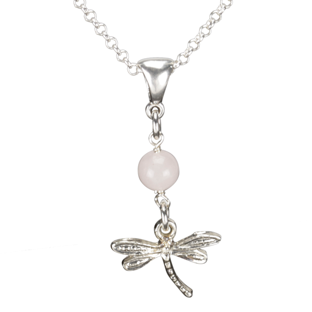 Sterling Silver Dragonfly Necklace Handcrafted Jewelry Rose Quartz Pendant Necklace