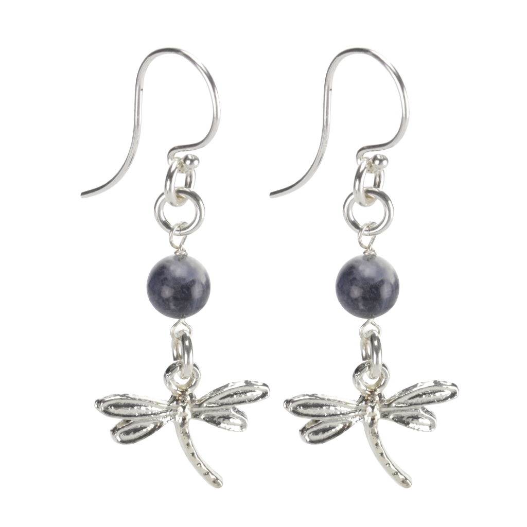 Sterling Silver Dragonfly Earrings Handcrafted Jewelry Soladite Drop Earrings