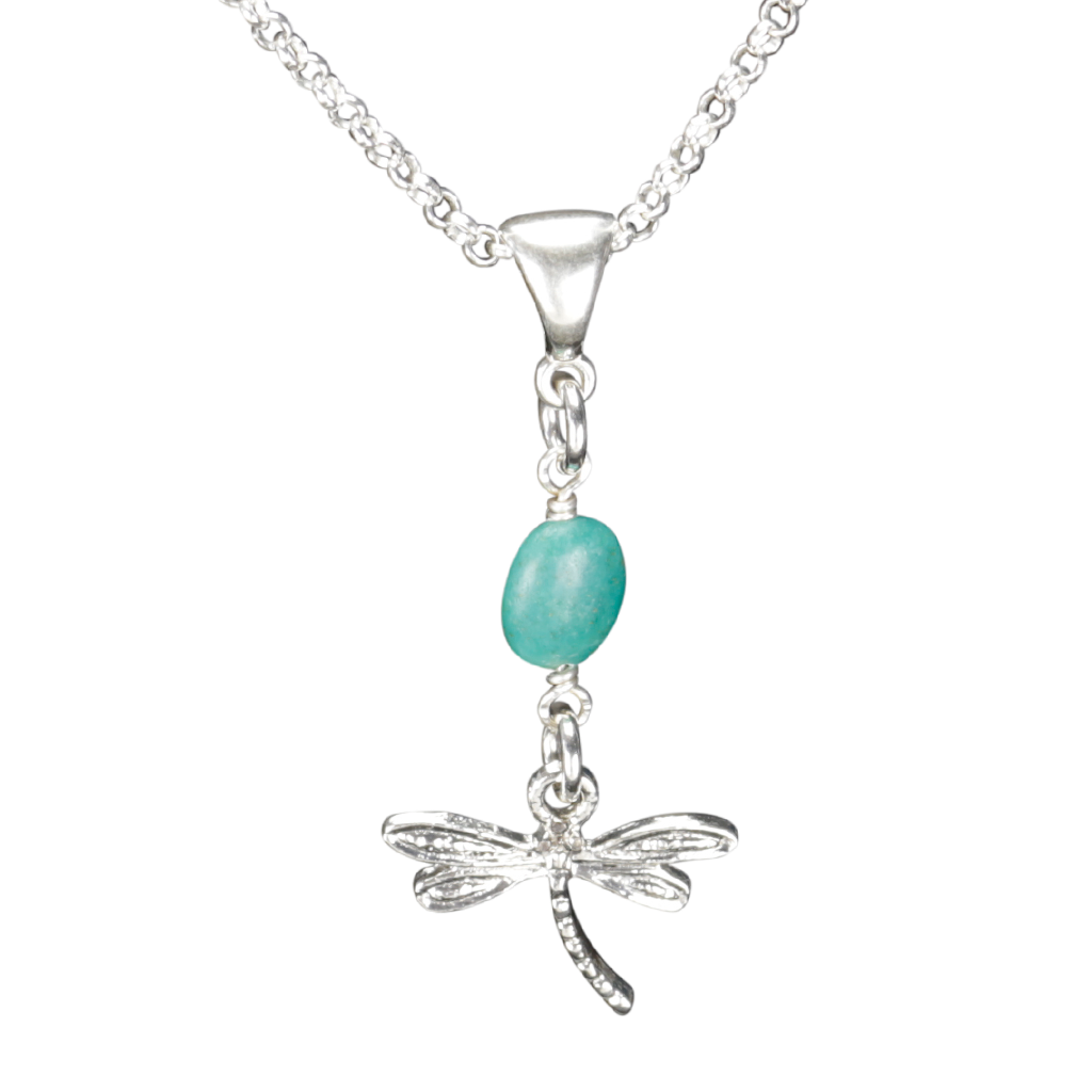 Sterling Silver Dragonfly Necklace Handcrafted Jewelry Turquoise Pendant Necklace