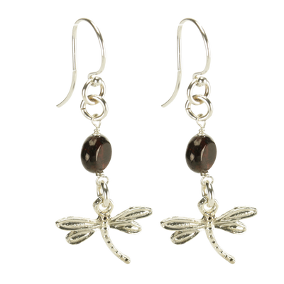 Sterling Silver Dragonfly Earrings Handcrafted Jewelry Garnet Drop Earrings
