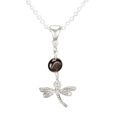 Sterling Silver Dragonfly Necklace Handcrafted Jewelry Garnet Pendant Necklace
