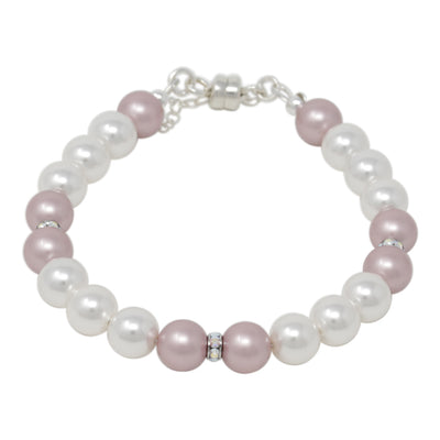 Bracelet-Multicolor Pearl and Crystal Sterling Silver Single Strand Bracelet