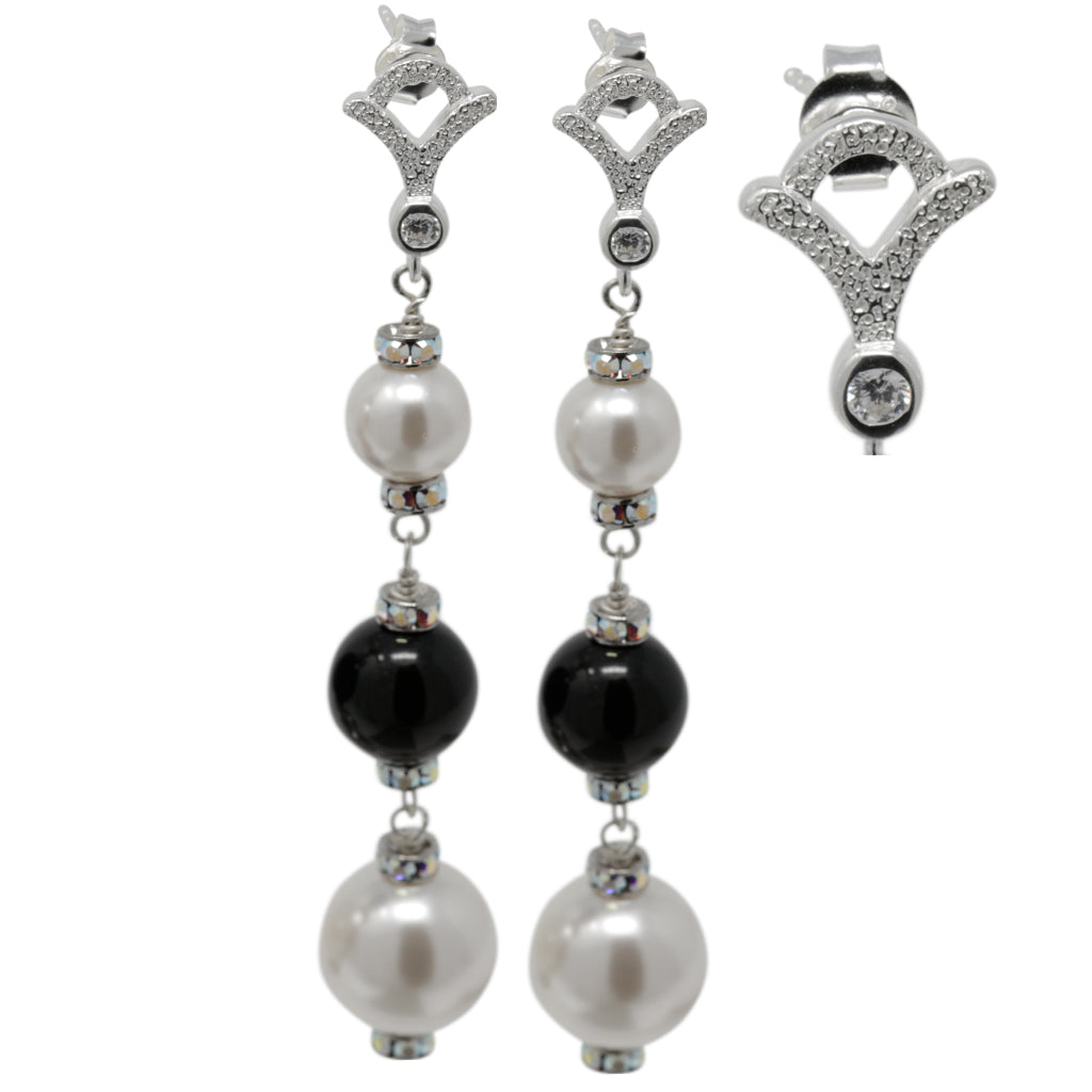 Multicolor Pearl and Crystal Sterling Silver Triple Drops