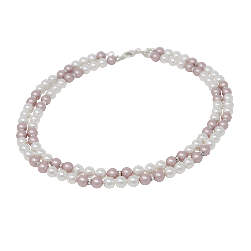 Necklace-Multicolor Pearl and Crystal Sterling Silver Double Strand