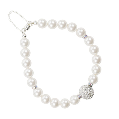 Pearl and Crystal Silver Bracelet with Sparkle Bead
